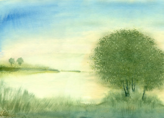 Watercolor painting nature background. Dawn on the lake in summer.