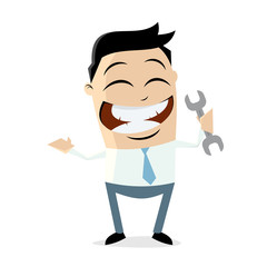 clipart of a happy businessman with a wrench