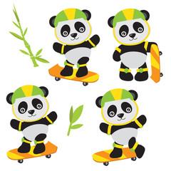 Cute panda vector cartoon illustration