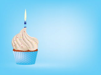 Cupcake with candle on blue background, vector