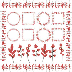 twigs with red flowers, ringlets, leaves, frames and curbs isolated on white background