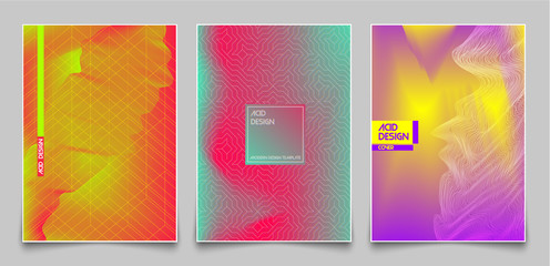 Cover design template set. Abstract fluorescent color and lines, modern gradient style background. For presentation, brochure, catalog, poster, book, magazine, annual report. Vector Illustration.