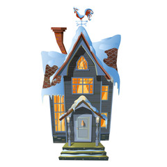 Picture of colonial house in winter snow. Vector illustration of mansion in Victorian architectural style with burning windows all covered with snow.