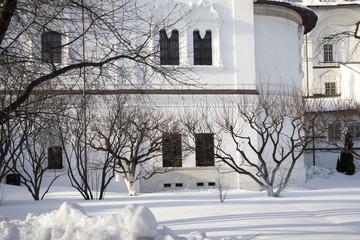 the wall with window ofSpaso-Preobrazhensky Cathedral in Novospassky monastery
