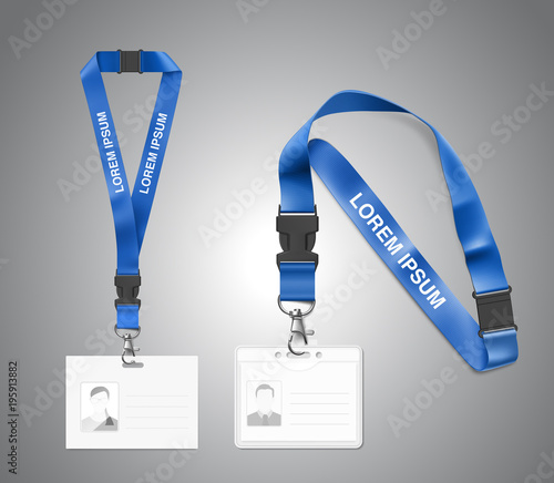 Set Of Lanyard With Id Card Vector Illustration Isolated On White - Free lanyard template