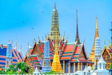The Bangkok Wat Phra Kaew and Grand Palace complex.  Bangkok, Thailandia.