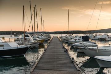 Rowboats at sea harbor