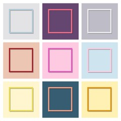 Set of multi-colored frames with shadow. Vector illustration.