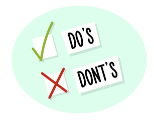 Choice between do's and dont's with checkboxes with tick and cross. Vector illustration design
