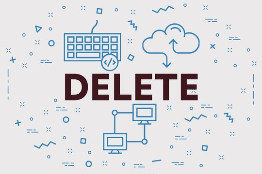 Conceptual business illustration with the words delete