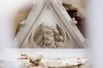 fragment of antique statue of Jesus Christ as a symbol of love, faith and religion.