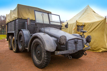 Military Retro car. Military truck. Military transport of the United States to America during the Second World War.