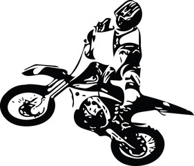 Extreme abstract motocross racer by motorcycle