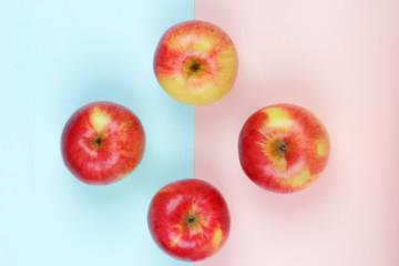 Apple, fruit pop art, red apple on a pink blue background, fruit for breakfast, vitamins, vegetarian food, pastel background, minimalism, designer blank, Asian food, American breakfast