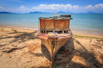Old boat at beach in Koh Yao Noi, Thailand