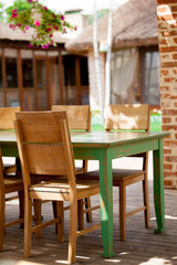 Wooden chair and table in restaurant