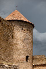 Old castle tower and wall