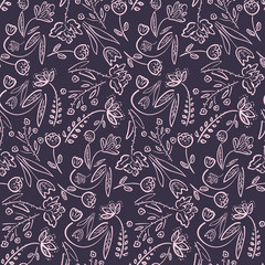 Dark violet seamless pattern with doodle hand drawn flowers and leaves. Romantic vintage sketchy purple meadow flowers texture for textile, wrapping paper, cover, surface, wallpaper, background