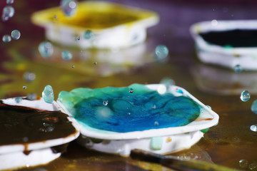 Artful painting with watercolors