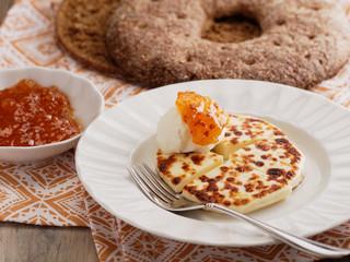 Finnish Cheese Leipajuusto, cloudberry jam, and cream