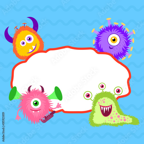 Monsters And Empty Frame On Blue Background Design Template For Card Poster Cover