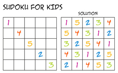 Sudoku for kids with solution, puzzle for children to complete each row or column with just one of each colorful numbers, mental task, logical but easy challenge