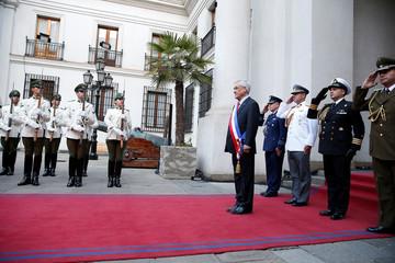 Chile's President Sebastian Pinera arrives at La Moneda Presidential Palace in Santiago