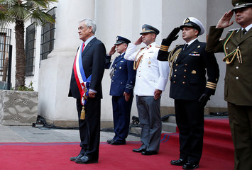 Chile's President Sebastian Pinera arrives at La Moneda Presidential Palace in Santiago