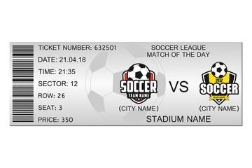 Soccer ticket design. Template for football stadium ticket. Vector illustration.