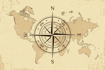 Vintage world map with retro compass. Background old paper map and wind rose. Vector illustration.