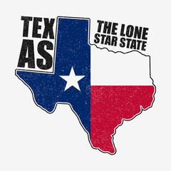 Texas typography graphics for t-shirt with flag and map of state. Grunge print for apparel, clothes. Vector illustration.