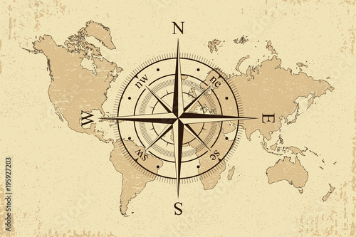 Vintage world map with retro compass background old paper map and vintage world map with retro compass background old paper map and wind rose vector gumiabroncs Choice Image