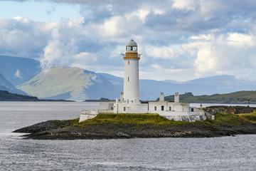 Oban, Scotland / United Kingdom - Jul 09 2017: Eilean Musdile Lighthouse..