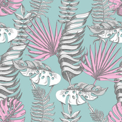 Delicate pink and blue seamless pattern with graphic tropical flowers.