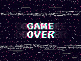 Game over glitch background. Retro game backdrop. Glitched lines noise. VHS effect for your design. Pixel inscription. Modern vector illustration