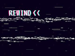 Rewind glitch background. Retro VHS template for design. Glitched lines noise. Pixel art 8 bit style. Vector illustration