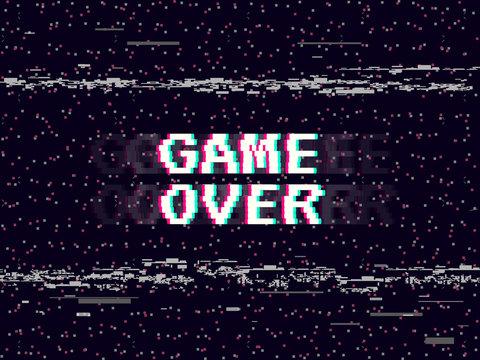 Game over glitch background. Retro game backdrop. Glitched lines noise. VHS effect for your design. Pixel inscription. Modern vector illustration