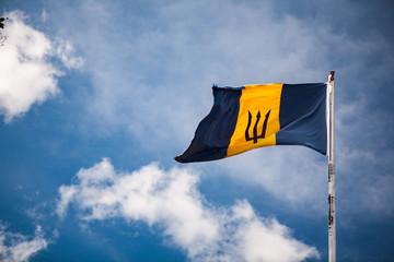 Barbadian Flag in Barbados, Sky, Clouds, Sunny, Sky