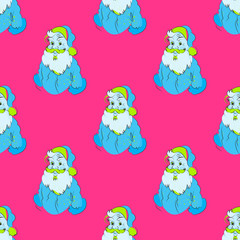Santa christmas seamless pattern. Cartoon style pattern design.