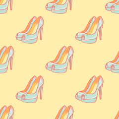 Shoes seamless pattern. Cartoon style pattern design.