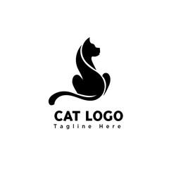 silhouette stand art cat logo