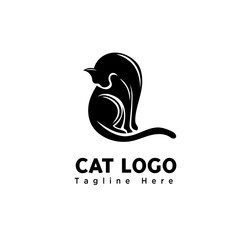 silhouette art cute cat logo