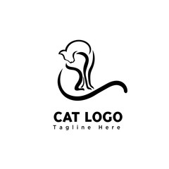 brush art cute cat logo