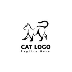brush art walking cat logo