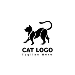 silhouette part art walking cat logo