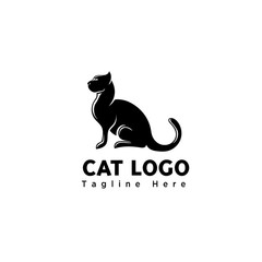 silhouette stand art cat logo