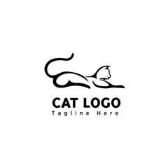brush art sleep cat logo
