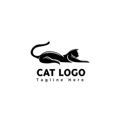 silhouette art sleep cat logo