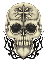 Art heart mix skull tattoo. Hand pencil drawing on paper.