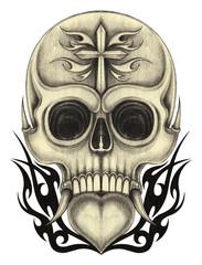 Art heart mix skull tattoo. Hand pencil drawing on paper.